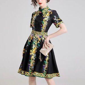 New Black Floral & Geo Print A Line Mini Dress